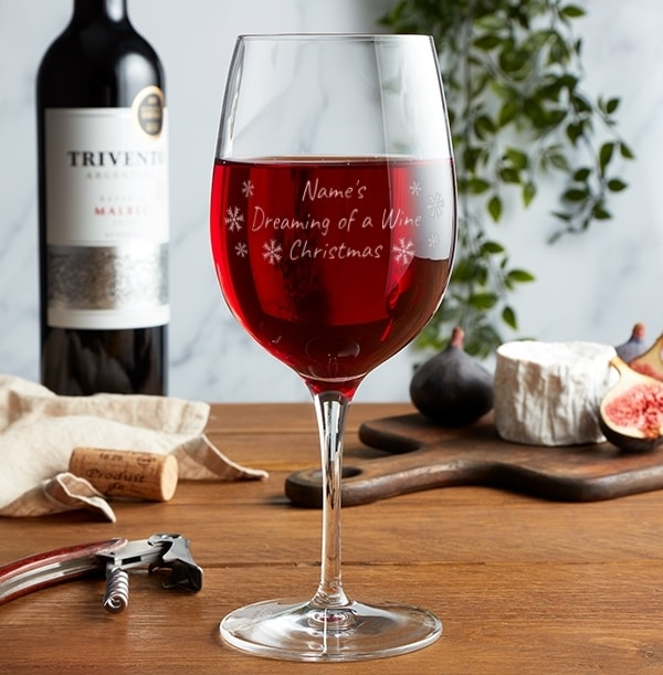 Personalised Wine Glass - Dreaming of a Wine Christmas