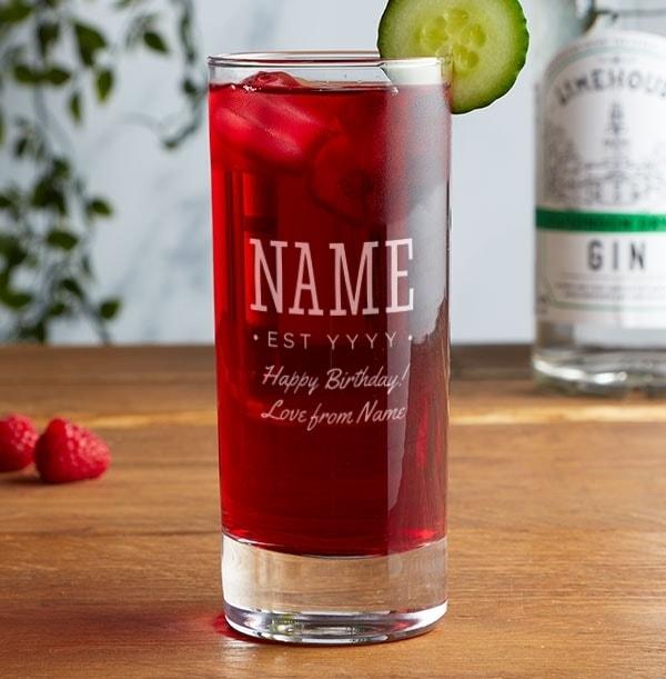 Personalised Highball Gin Glass - Happy Birthday