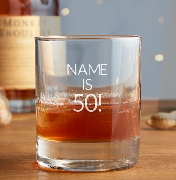 Old Fashioned Whisky Tumbler - 50th Birthday