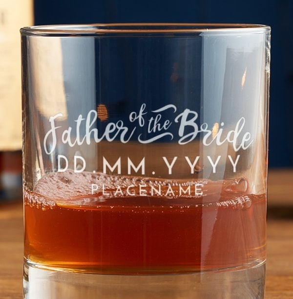 Personalised Father of the Bride Whisky Glass
