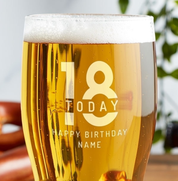 Engraved Beer Glass - 18th Birthday