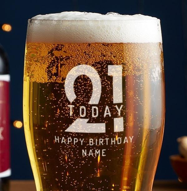 Personalised Beer Glass - 21st Birthday