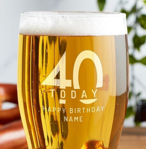 Engraved Pint Glass - 40th Birthday