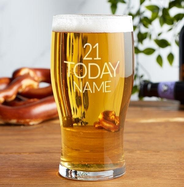 Engraved Pint Glass - 21st Birthday