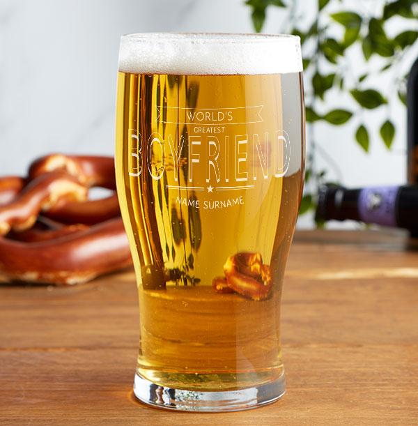 World's Greatest Boyfriend Engraved Beer Glass