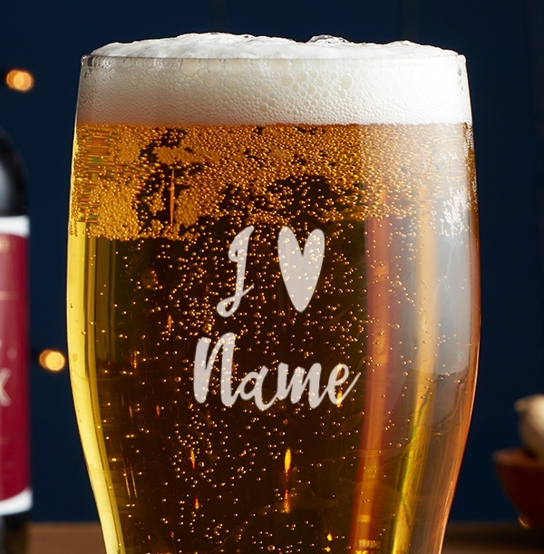 I Heart Name Engraved Beer Glass