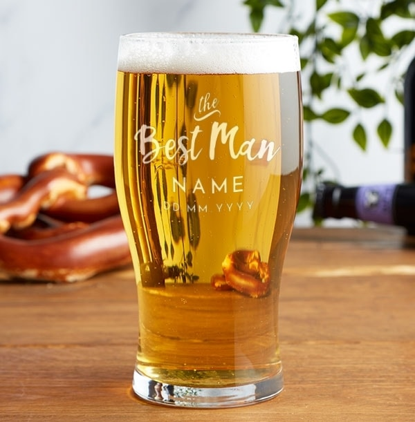 Personalised Best Man Pint Glass