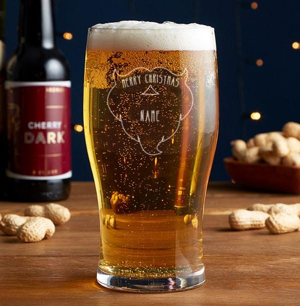 Personalised Beer Glass - Merry Christmas