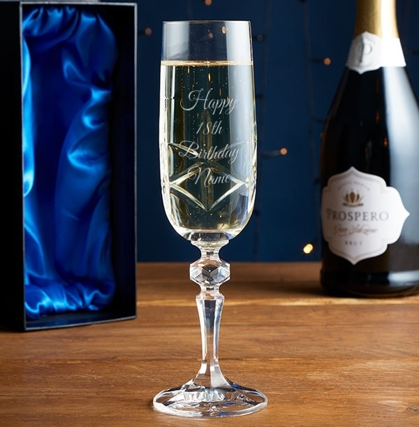Engraved Crystal Champagne Glass - 18th Birthday