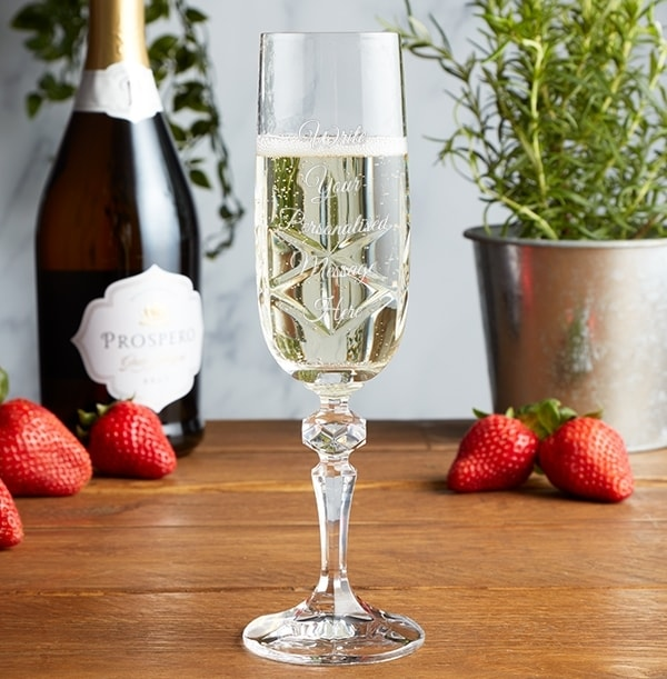 Engraved Crystal Champagne Glass