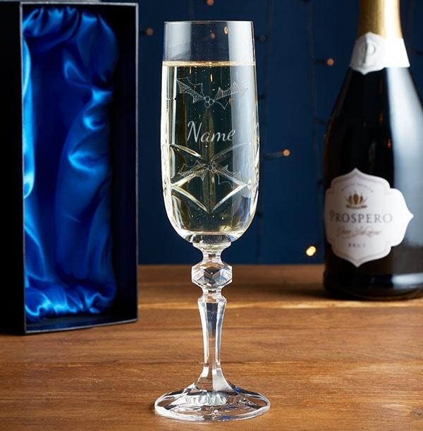 Engraved Crystal Champagne Glass - Christmas Name