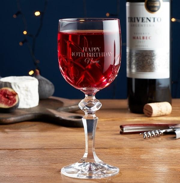 Engraved Crystallite Wine Glass - 40th Birthday