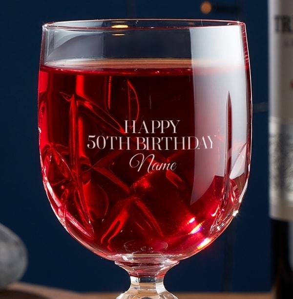 Engraved Crystal Wine Glass - 50th Birthday
