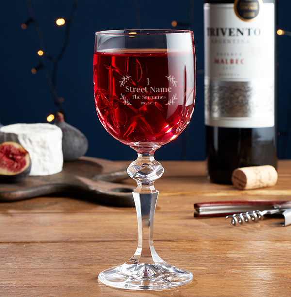 Personalised New Home Crystal Wine Glass