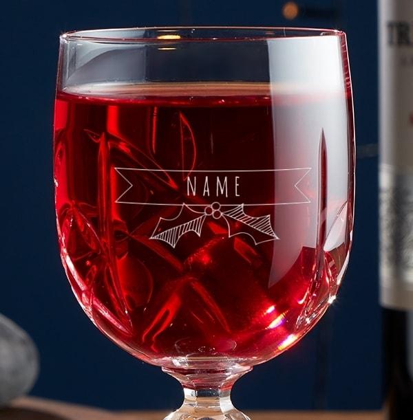 Engraved Crystallite Wine Glass - Christmas Name
