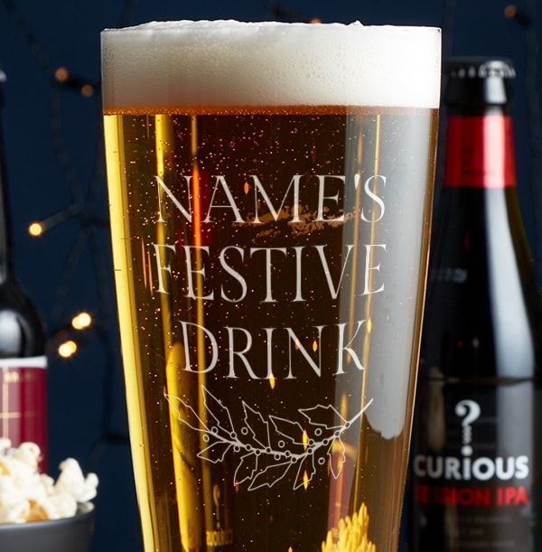 Personalised Pint Glass - Names Festive Drink