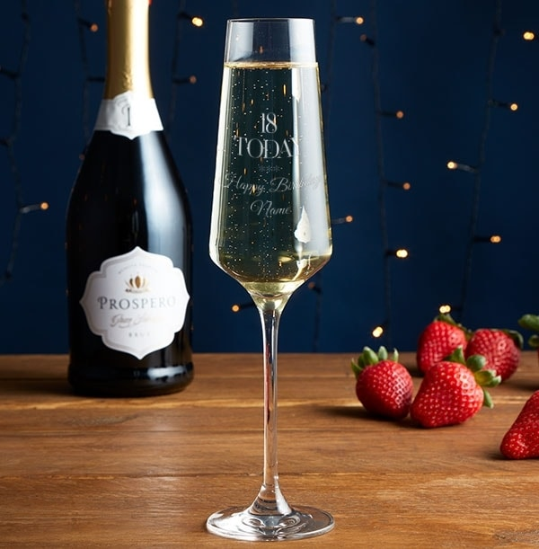 Personalised Champagne Glass - 18th Birthday