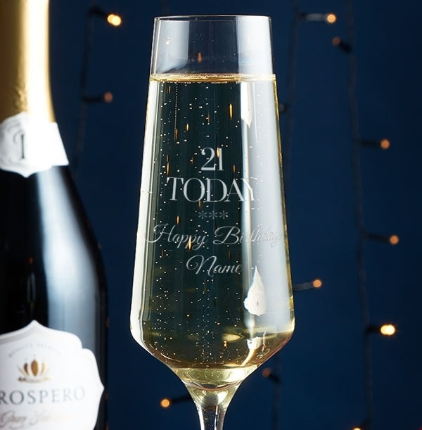 Personalised Champagne Glass - 21st Birthday