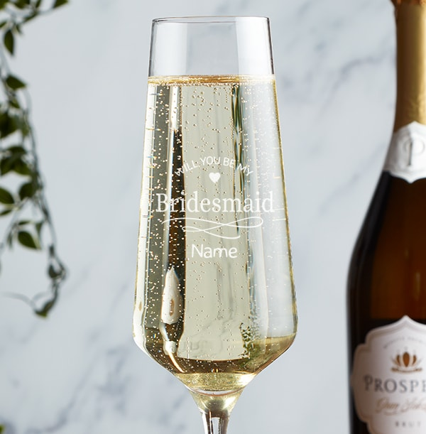 Engraved Champagne Glass - Be My Bridesmaid