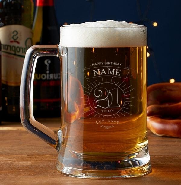 Personalised Beer Tankard - 21st Birthday