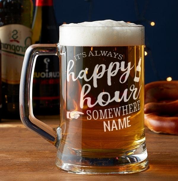 Engraved Glass Tankard - Happy Hour Somewhere