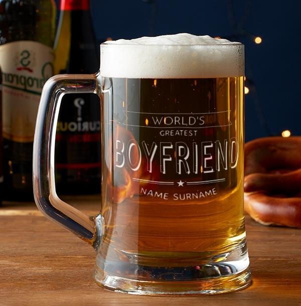 Worlds Greatest Boyfriend Engraved Beer Tankard