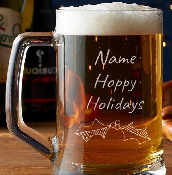 Engraved Glass Tankard - Hoppy Holidays