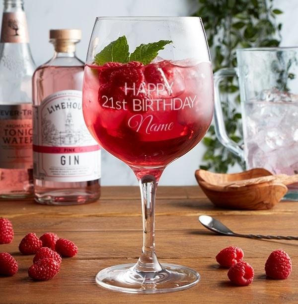 Personalised Gin Glass - 21st Birthday