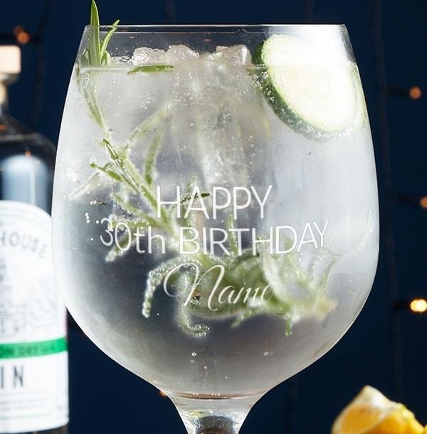 Engraved Gin Glass - 30th Birthday