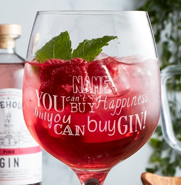 Personalised Gin Glass - Can't Buy Happiness