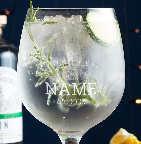 Let The Fun Be Gin Personalised Glass