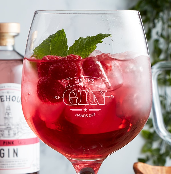 Engraved Gin Glass - Hands Off!