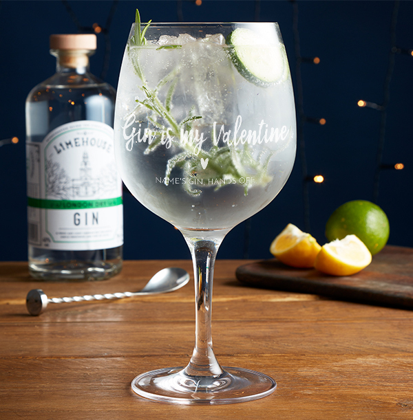 Gin Is My Valentine Engraved Spanish Gin Glass