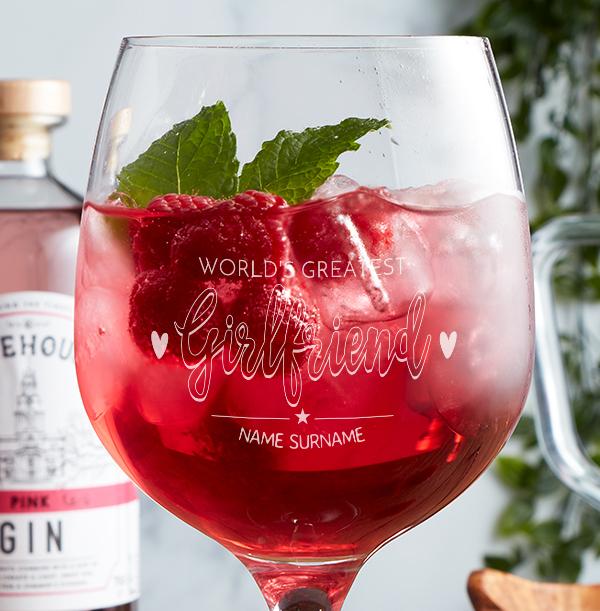 Worlds Greatest Girlfriend Engraved Spanish Gin Glass