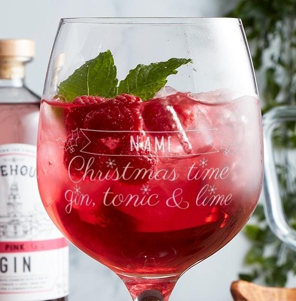 Engraved Gin Glasses - Christmas Time, Gin, Tonic & Lime