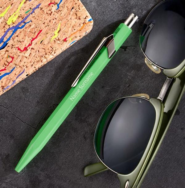 Personalised Caran d'Ache Ballpoint Pen - Green
