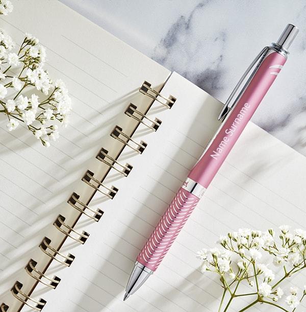 Personalised Pentel Rollerball Pen - Pink