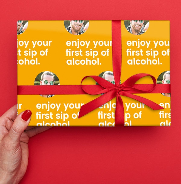First Sip of Alcohol Photo Wrapping Paper