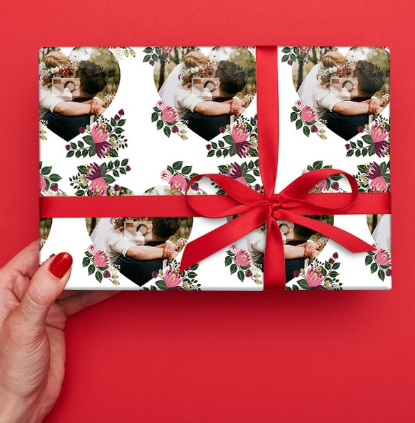 Hearts and Florals Wedding Photo Wrapping Paper