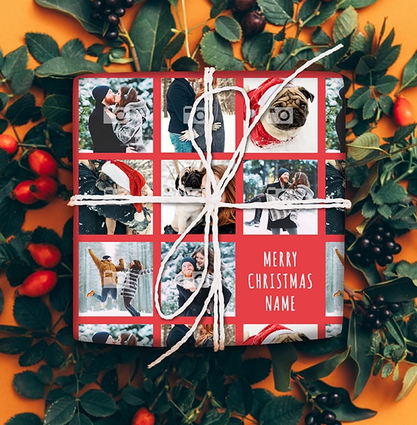 Photo Collage Christmas Wrapping Paper