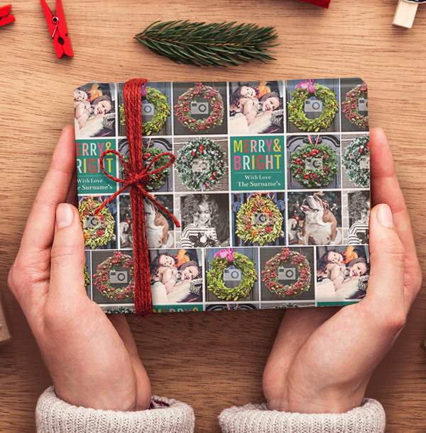 Merry & Bright Photo Christmas Wrapping Paper