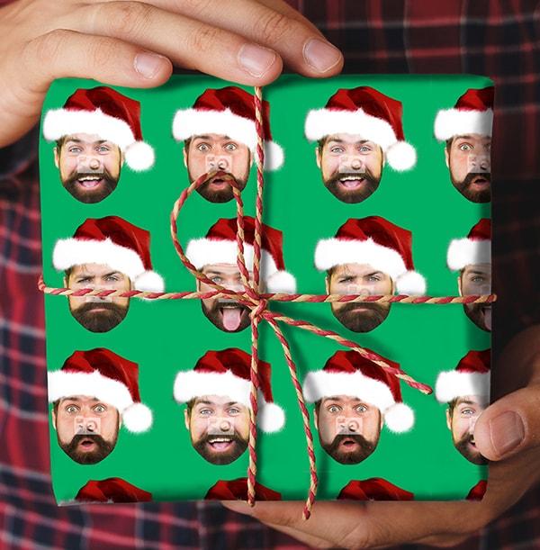 Santa Hat Photo Christmas Wrapping Paper