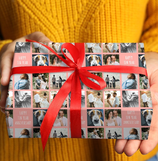 Ten Year Anniversary Photo Wrapping Paper
