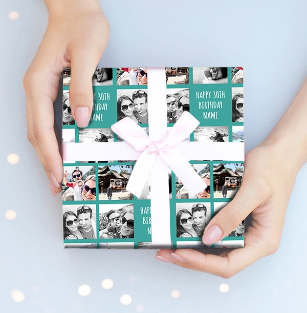 Blue Birthday Age Photo Wrapping Paper
