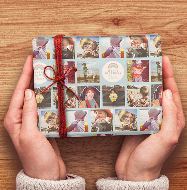 Blue Photo Collage Wrapping Paper