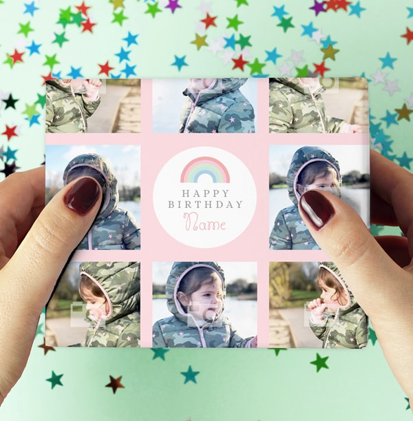 Pink Photo Collage Wrapping Paper