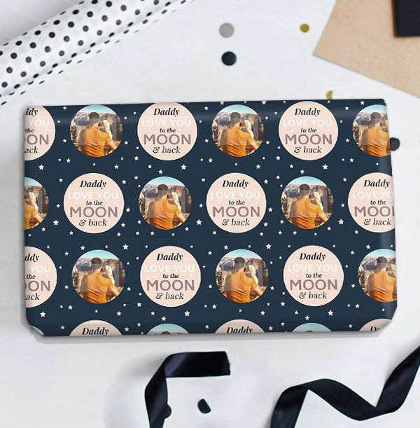 To The Moon and Back Daddy Photo Wrapping Paper