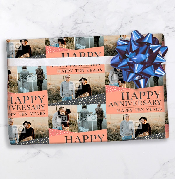 Happy Tenth Anniversary Photo Wrapping Paper