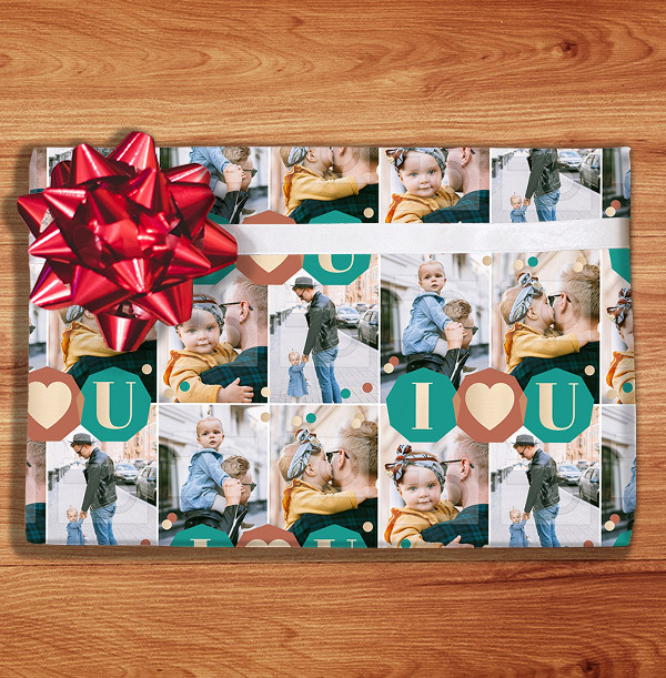 I Heart U Male Photo Wrapping Paper