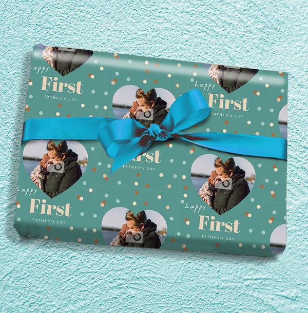 Happy First Father's Day Full Photo Wrapping Paper